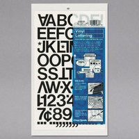 Chartpak 01030 Black Adhesive 1 inch Vinyl Helvetica Letters - 88/Pack
