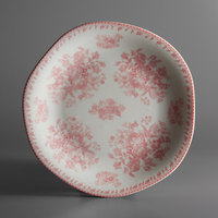 Oneida L6703052152 Lancaster Garden 10 1/2 inch Pink Porcelain Plate - 24/Case