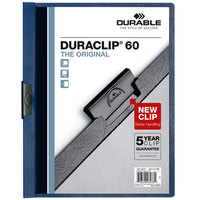 Durable 221428 DuraClip Vinyl Navy Letter, 60 Page Report Cover - 25/Pack