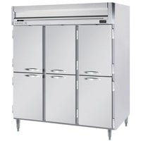 Beverage-Air HFPS3-5HS Horizon Series 78 inch Solid Half Door All Stainless Steel Reach-In Freezer