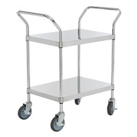 Regency Stainless Steel Two Shelf Utility Cart - 24 inch x 18 inch x 37 inch