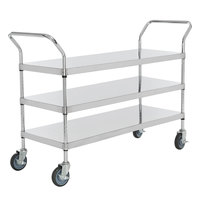 Regency Stainless Steel Three Shelf Utility Cart - 48 inch x 18 inch x 37 inch