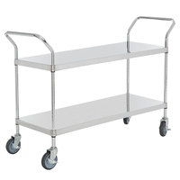 Regency Stainless Steel Two Shelf Utility Cart - 48 inch x 18 inch x 37 inch