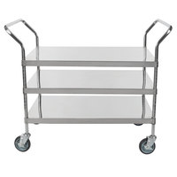 Regency Stainless Steel Three Shelf Utility Cart - 36 inch x 24 inch x 37 inch
