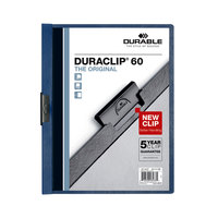 Durable 221407 DuraClip Vinyl Clear / Dark Blue Letter, 60 Page Report Cover - 25/Pack