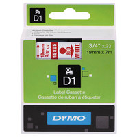 DYMO 45805 D1 3/4 inch x 23' Red on White High-Performance Polyester Removable Label Tape