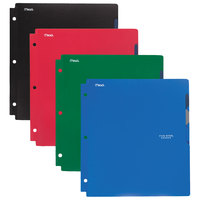 Mead 73272 Letter Size Assorted Solid Color 4 Pocket Folders with Colored Tabs - 4/Set