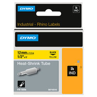 DYMO 18055 Rhino 1/2 inch x 5' Black on White Heat-Shrink Tube