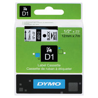 DYMO 45013 D1 1/2 inch x 23' Black on White High-Performance Polyester Removable Label Tape