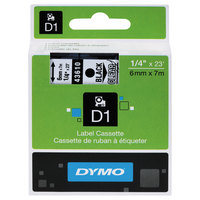 DYMO 43610 D1 1/4 inch x 23' Black on Clear High-Performance Polyester Removable Label Tape