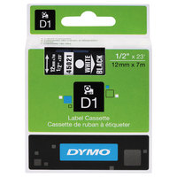 DYMO 45021 D1 1/2 inch x 23' White on Black High-Performance Polyester Removable Label Tape