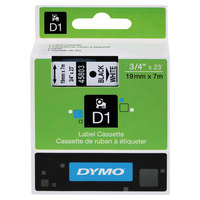 DYMO 45803 D1 3/4 inch x 23' Black on White High-Performance Polyester Removable Label Tape