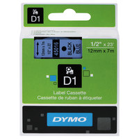 DYMO 45016 D1 1/2 inch x 23' Black on Blue High-Performance Polyester Removable Label Tape