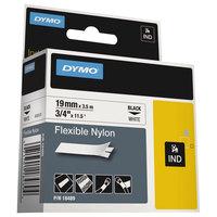 DYMO 18489 Rhino 3/4 inch x 11 1/2' Black on White Flexible Nylon Industrial Label Tape