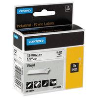 DYMO 18444 Rhino 1/2 inch x 18' Black on White Industrial Vinyl Permanent Label Tape