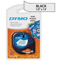 DYMO 91331 LetraTag 1/2 inch x 13' White Plastic Label Tape