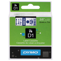 DYMO 40914 D1 3/8 inch x 23' Blue on White High-Performance Polyester Removable Label Tape