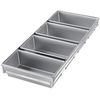 Chicago Metallic 44065 3/4 lb. 4-Strap Open Top Glazed Bread Pan - 8 inch x 4 inch x 2 1/2 inch
