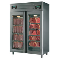 Maturmeat 58 inch Glass Door Stainless Steel Meat Aging and Curing Cabinet with Rear Glass Panel - 220 lb. + 220 lb. / 100 kg. + 100 kg., 220V, 3700W
