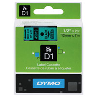 DYMO 45019 D1 1/2 inch x 23' Black on Green High-Performance Polyester Removable Label Tape
