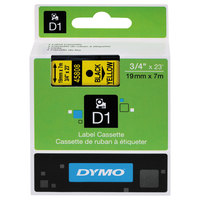 DYMO 45808 D1 3/4 inch x 23' Black on Yellow High-Performance Polyester Removable Label Tape