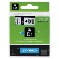 DYMO 43613 D1 1/4 inch x 23' Black on White High-Performance Polyester Removable Label Tape
