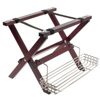 Tablecraft Mahogany Finish Mini Table Tray Stand with Stainless Steel Accessory Rack
