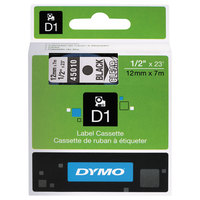 DYMO 45010 D1 1/2 inch x 23' Black on Clear High-Performance Polyester Removable Label Tape