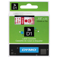 DYMO 45012 D1 1/2 inch x 23' Red on Clear High-Performance Polyester Removable Label Tape
