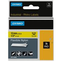 DYMO 18490 Rhino 1/2 inch x 11 1/2' Black on Yellow Flexible Nylon Industrial Permanent Label Tape