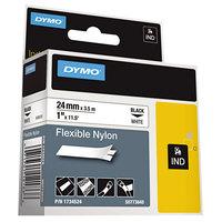 DYMO 1734524 Rhino 1 inch x 11 1/2' Black on White Flexible Nylon Industrial Label Tape