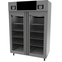 Maturmeat 58 inch Glass Door Stainless Steel Twin Meat Aging Cabinet - 220 lb. + 220 lb. / 100 kg. + 100 kg., 220V, 3700W
