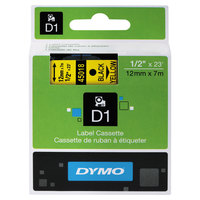 DYMO 45018 D1 1/2 inch x 23' Black on Yellow High-Performance Polyester Removable Label Tape