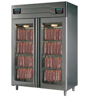Stagionello 58 inch Glass Door Stainless Steel Twin Meat Curing Cabinet - 220 lb. + 220 lb. / 100 kg. + 100 kg., 220V, 3210W