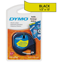 DYMO 91332 LetraTag 1/2 inch x 13' Yellow Plastic Label Tape