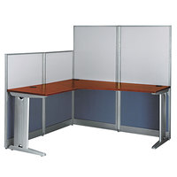 Bush WC36494A103 Office-in-an-Hour Hansen Cherry L-Shaped Melamine Desk with Acoustic Panels - 64 1/2 inch x 64 1/2 inch x 63 inch