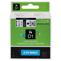 DYMO 53713 D1 1 inch x 23' Black on White High-Performance Polyester Removable Label Tape