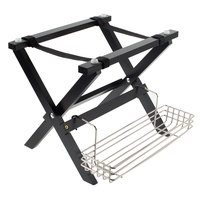 Tablecraft Black Finish Mini Table Tray Stand with Stainless Steel Accessory Rack