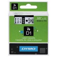 DYMO 41913 D1 3/8 inch x 23' Black on White High-Performance Polyester Removable Label Tape