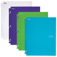 Mead 73264 Letter Size Assorted Pastel Color Snap-In 2 Pocket Folders - 4/Set