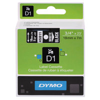 DYMO 45811 D1 3/4 inch x 23' White on Black High-Performance Polyester Removable Label Tape