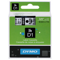 DYMO 40910 D1 3/8 inch x 23' Black on Clear High-Performance Polyester Removable Label Tape