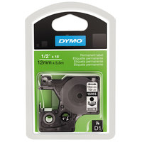 DYMO 16955 D1 1/2 inch x 18' Black on White High-Performance Polyester Permanent Label Tape
