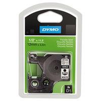 DYMO 16953 D1 1/2 inch x 12' Black on White Flexible Nylon Permanent Label Tape