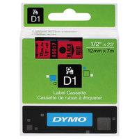 DYMO 45017 D1 1/2 inch x 23' Black on Red High-Performance Polyester Removable Label Tape