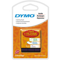 DYMO 12331 LetraTag 1/2 inch x 13' 3-Pack Assorted Paper and Plastic Label Tape