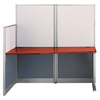 Bush WC36492A103 Office-in-an-Hour Hansen Cherry Melamine Desk with Acoustic Panels - 64 1/2 inch x 32 1/4 inch x 63 inch