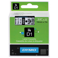 DYMO 45800 D1 3/4 inch x 23' Black on Clear High-Performance Polyester Removable Label Tape