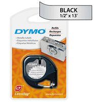 DYMO 91338 LetraTag 1/2 inch x 13' Silver Metallic Plastic Label Tape