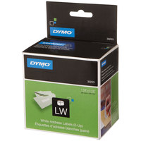 DYMO 30253 LabelWriter 1 1/8 inch x 3 1/2 inch White 2-UP Address Permanent Self-Adhesive Label Roll - 700/Roll